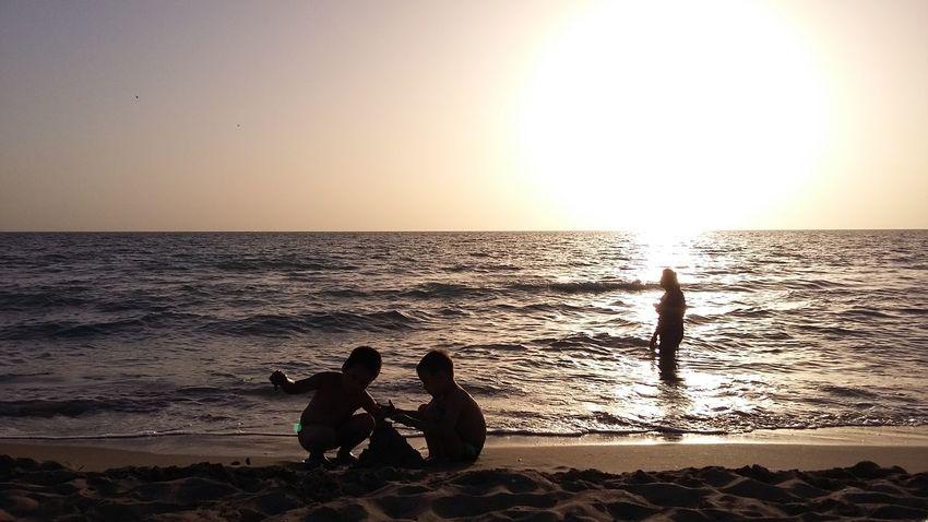 Beach Kids Playing Sea