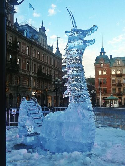Ice Dragon Is Drake Ice Sculpture Winter December 2016 Sweden