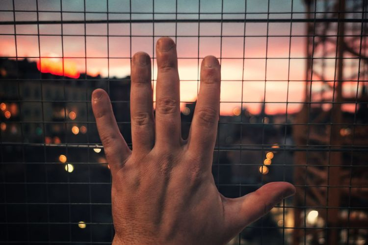 Close-up of hand against sky during sunset