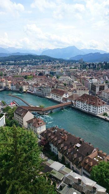 Lucerne Reuss Stadt Von Oben Museggmauer Kappelbrücke