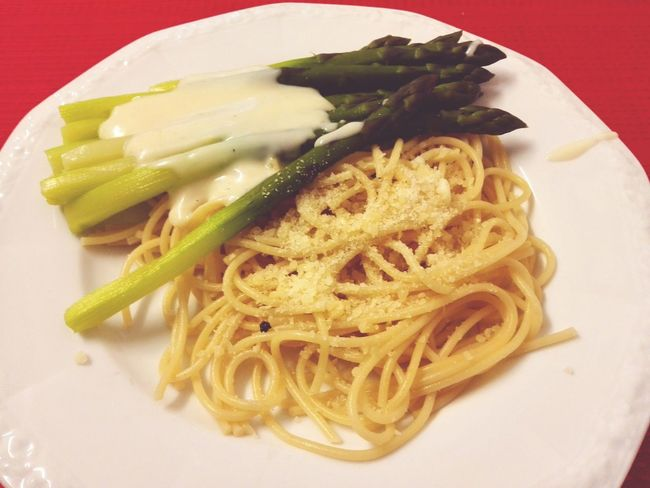 Asparagus Healthy Dinner Dishes Noodles Spaghettis Cheese Green Asparagus