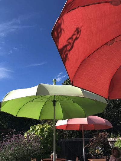 Summer Stockholm, Sweden The Week on EyeEm Summer In Sweden Summer Views Stockholm, Sweden Umbrella Sky Protection Nature Security Parasol Day No People Low Angle View Red Blue Outdoors Sunshade Sunlight Clear Sky Shade Summer In The City