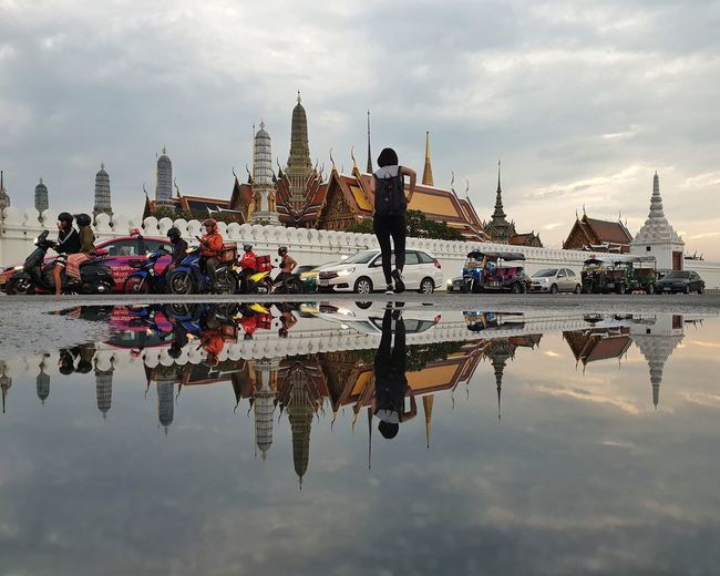 Temple of the Emerald Buddha, Thailand Landscape_photography Landscape_Collection Landmark Transportation Thailand Bangkok Reflection Reflection Sky Water Architecture Cloud - Sky Building Exterior Built Structure City Travel Travel Destinations Building Tourism Real People Religion Spirituality Outdoors