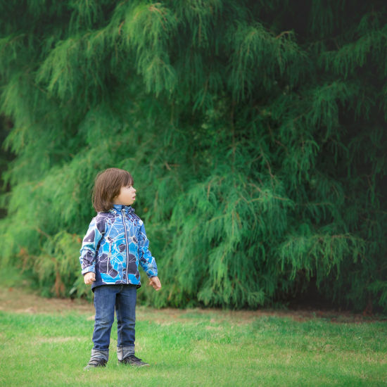 Full length of girl standing on grass in forest