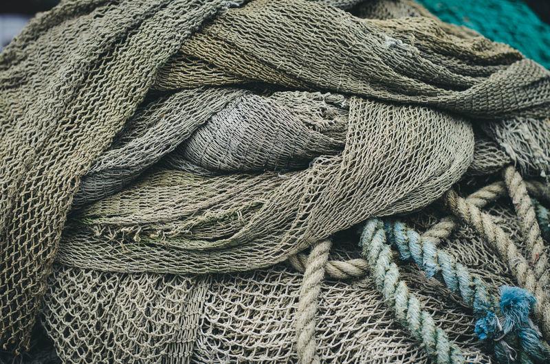 Full Frame Shot Of Tangled Fishing Net