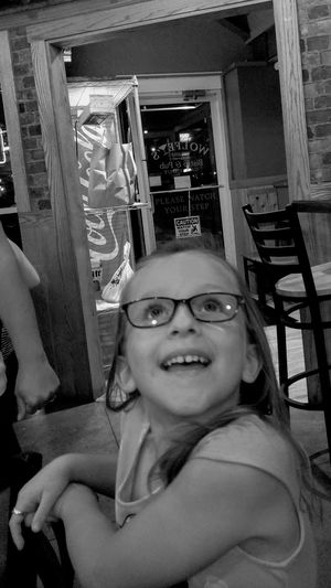 EyeEmNewHere girl, glasses, child, happy One Person Smiling Portrait Eyeglasses  Indoors  Looking At Camera Happiness Black And White Friday
