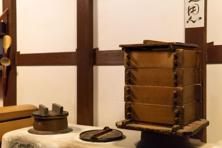 Ancient kitchen. Ancient Art And Craft Cooking Creativity Japan Japanese Culture OSAKA Travel Art Container Education Exhibition History Household Equipment Indoors  Kitchen Model Museum Representation The Past Wood - Material