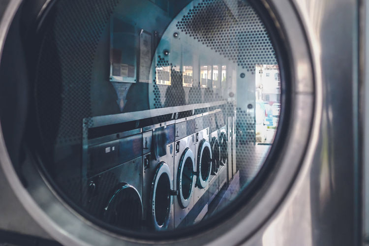 Close up view of a washing machine at the laundry