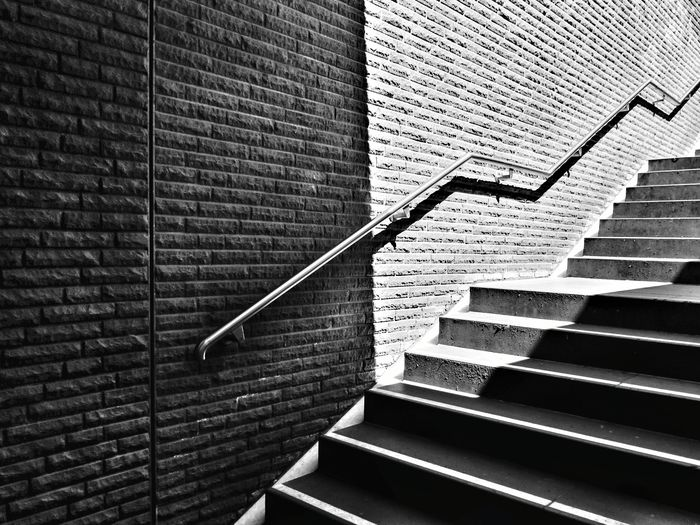 Blackandwhite Light And Shadow Staircase Brick Wall Diagonal