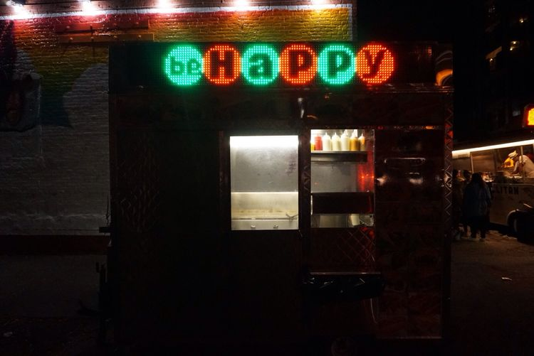 Be Happy Cart Illuminated Communication Night Text Outdoors No People Happy New York