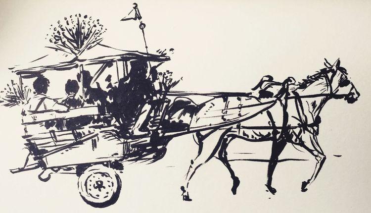Delman Drawings Art Sketch