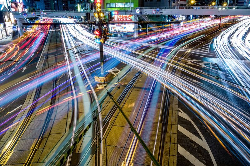 Traffic Light Trail Motion Transportation City City Street Street Night Car
