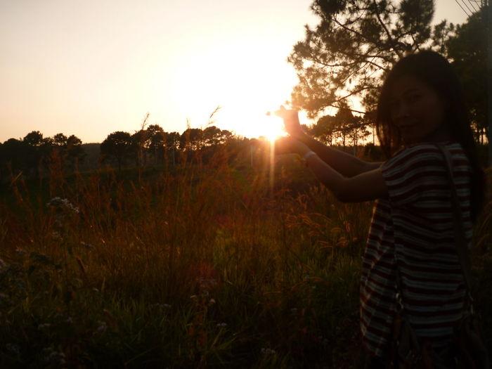 Sunset Standing Women Tree Sky Tranquil Scene Countryside Sun Scenics Growing