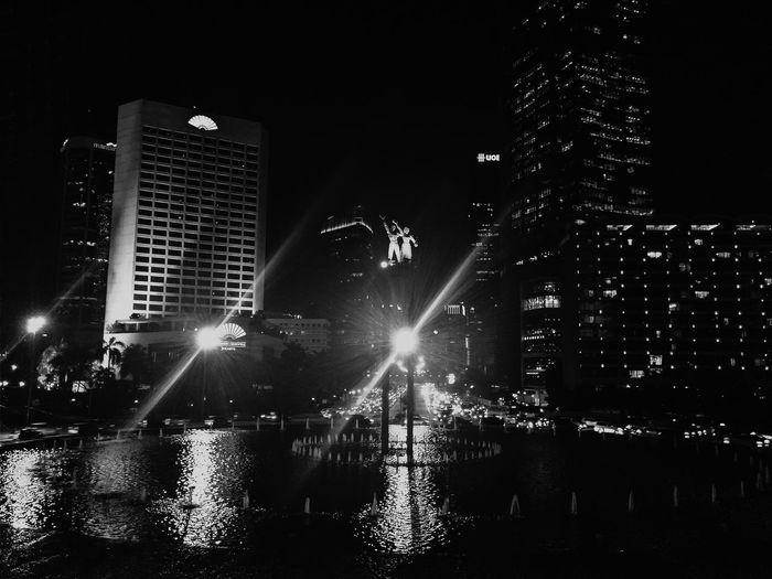 Nightphotography Night Lights Light And Shadow Black And White Urban Geometry Urban Landscape Cityscapes The Traveler - 2015 EyeEm Awards South Bundaran Hotel Indonesia