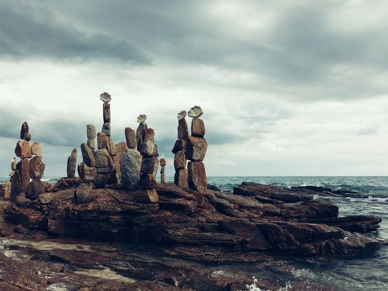 Rock - Object Cloud - Sky Sky Sculpture Sea Horizon Over Water Scenics Nature Statue Stack Tranquil Scene Day Beauty In Nature No People Tranquility Water Travel Destinations Outdoors