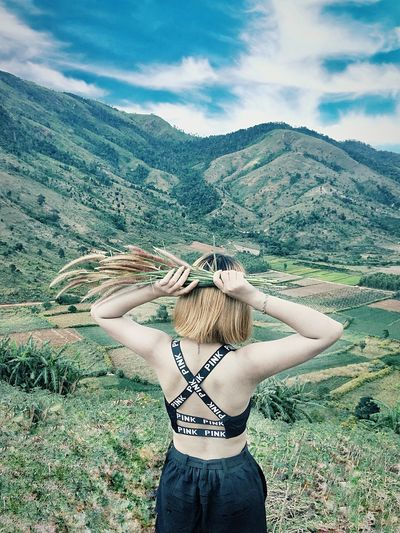 Lifestyle One Person Real People Sky Plant Beauty In Nature Lifestyles Three Quarter Length Mountain Day Cloud - Sky Land Women