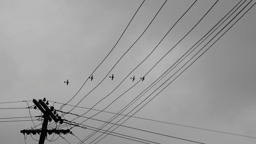 Aeroplanes Flying Formation Sky Power Line  Power Supply Power Lines Power Cable Telephone Line Mount Albert Tamaki Makaurau Silhouette