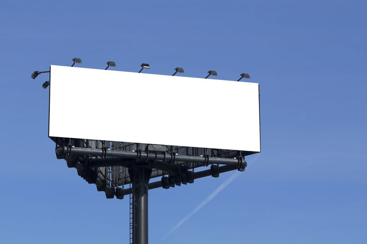 Blank billboard outdoors, in a public zone Billboard Blank Advertising Blue Outdoor Background Black Advertisement Tower Structure Space Communication White Banner Promotion Clear Media Marketing Commercial Empty Board Sign Outdoor Poster Message Panel Ad Information Large Signpost Metallic Focus Light Metal Sky Announcement