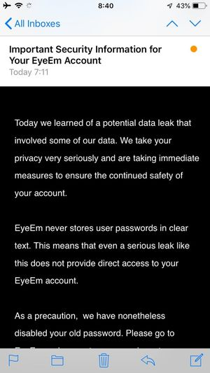 Are you ok? I saw a person saying that the data of EyeEm has disappeared🤔It might just be that the account was forcibly logged out and it seemed so.My data is safe. I changed my password to make sure. I saw a story that this problem is occurring not only in EyeEm but also in various services. The same is true for 500px. It is not certain whether it is true. In any case, you should change your password. I wish for your safety for photography life👍 News EyeEm Screenshot Communication Text Western Script Technology Data