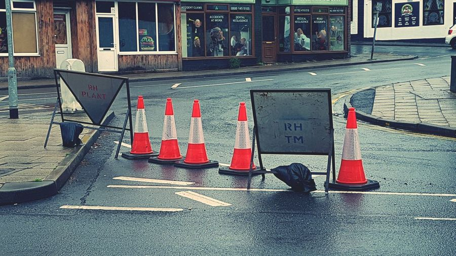 Day No People Outdoors Traffic Cone Road Works Road Works Cones Road Works Background Image