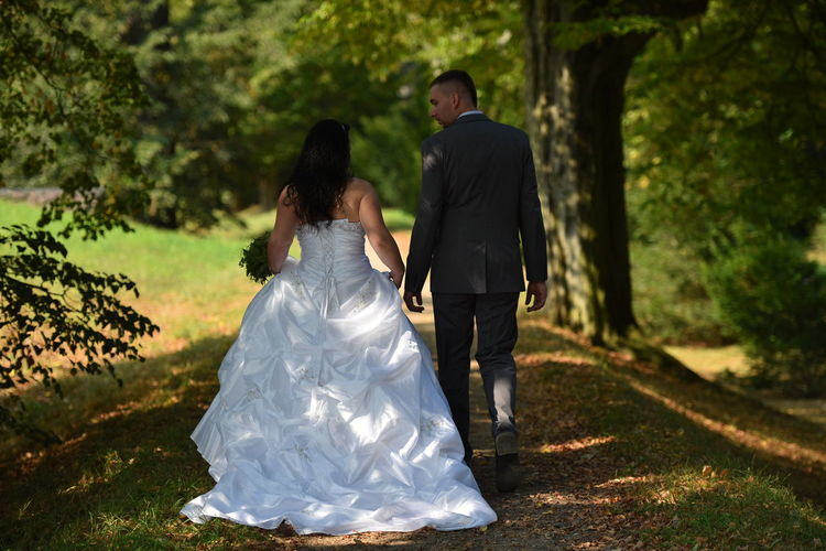 Rear View Of Newly Wed Couple Walking On Field In Park