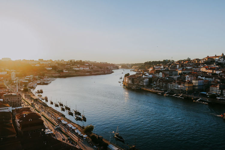Cityscape High Angle View Building Clear Sky River Harbor Day Porto Portugal Sunset Travel Destinations City Sky Outdoors