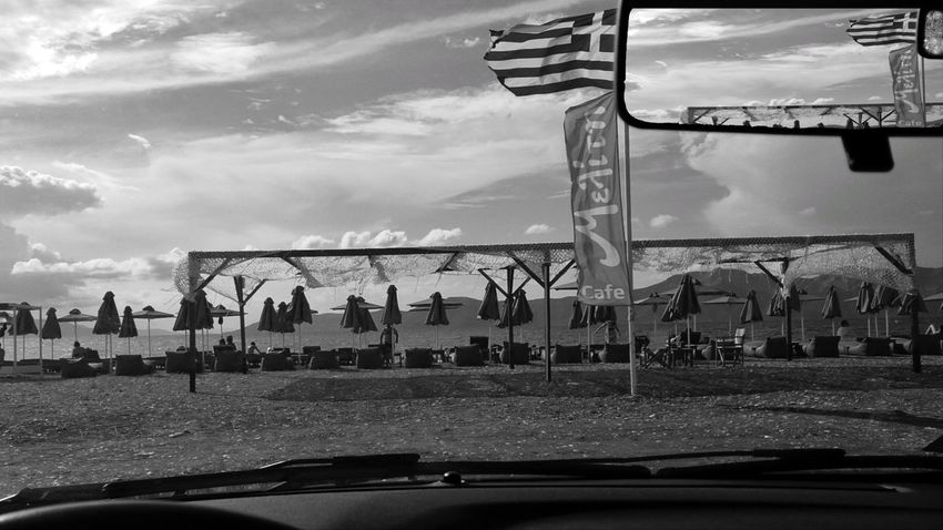 Greece EyeEm Black And White Blackandwhite Photography Man Car Land Vehicle Sky Cloud - Sky Car Point Of View My Best Travel Photo