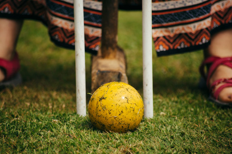 Ball Close-up Croquet Day Feet Grass Human Leg Lawn Low Section Mallet One Person Outdoors People Sport