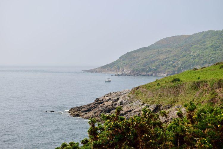 Taking Photos Sea Coastline Greenery Rocks Seaview Sailboat Nikon D5500