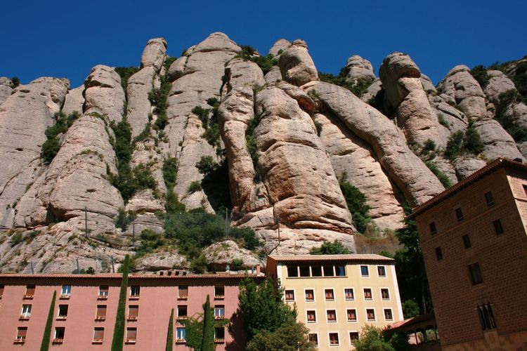 Montserrat monastery, Spain. Montserrat Rock Formation Architecture Building Exterior Low Angle View Monstery Mountain Nature Scenics Sky Been There. Lost In The Landscape Perspectives On Nature