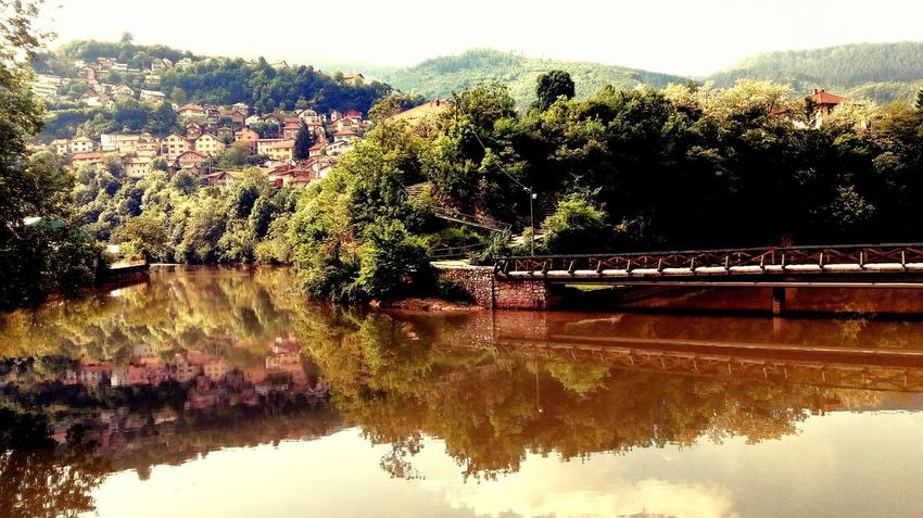 Tree Water Beauty In Nature Outdoors Reflection River River Collection Riverside View Bridge Bridge Over Water Landscape Landscape_Collection Landscape Photography Hill