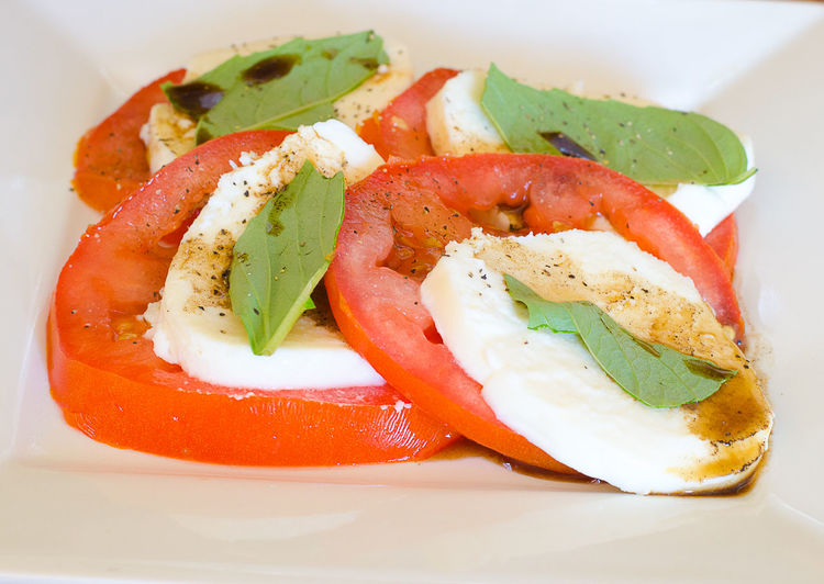 Basketball Caprese Close-up Food Food And Drink Freshness Garnish Healthy Eating Indoors  Leaf No People Plate Ready-to-eat Salad SLICE Tomato