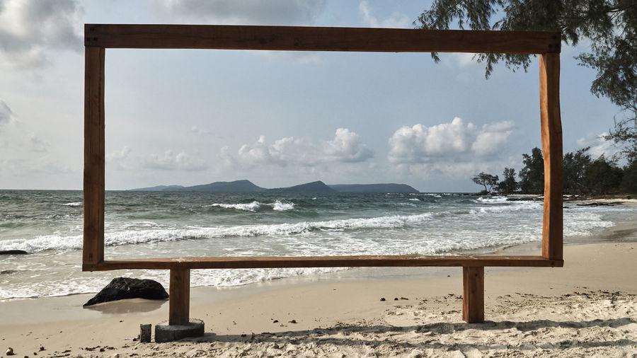 Beach Pictureframe Sand Scenics Sea Tranquil Scene