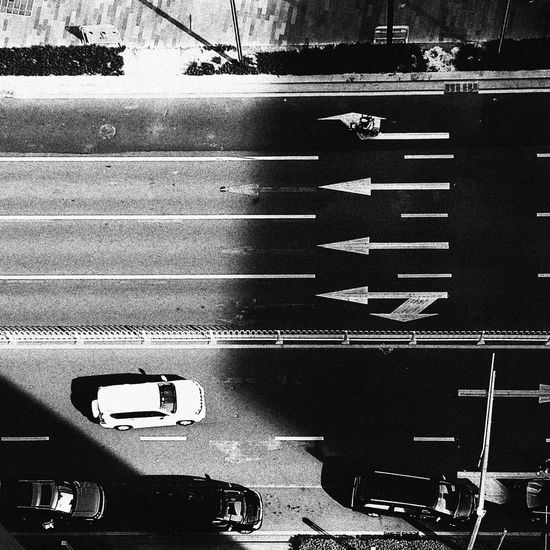 Road Marking Road Transportation Street High Angle View Outdoors Day Black & White Shenzhen.China Light And Shadow Asphalt