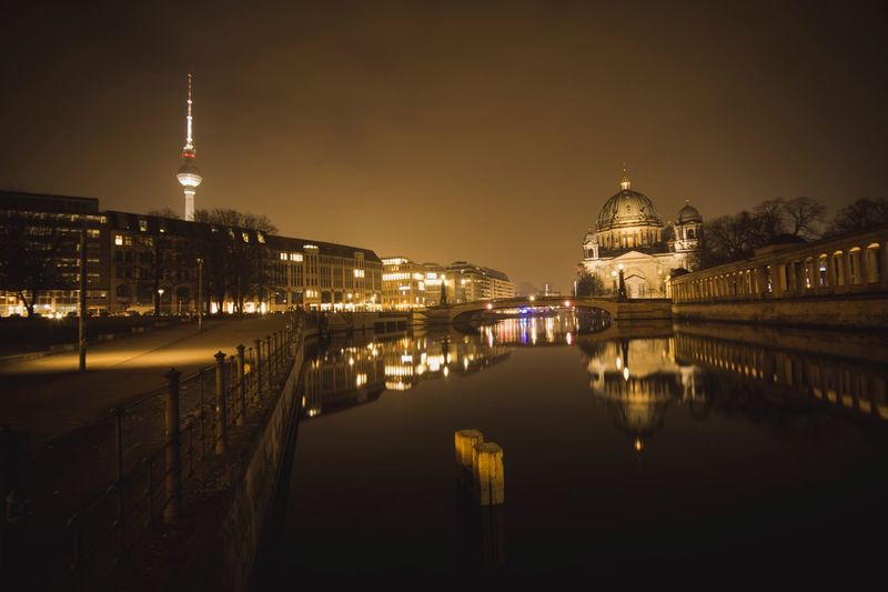Dusty Berlin Berlin Photography Berlin Berliner Dom Berliner Ansichten Alexanderplatz Architecture Built Structure Building Exterior Travel Destinations Night Tourism Travel Tower Illuminated Water City Dome Outdoors Waterfront History Cityscape Politics And Government