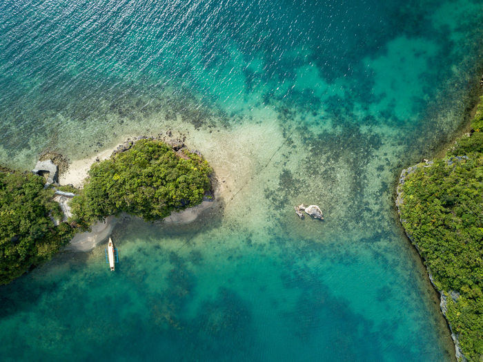 Scenic bird's eye drone picture of the hundred islands national park in pangasinan, philippines