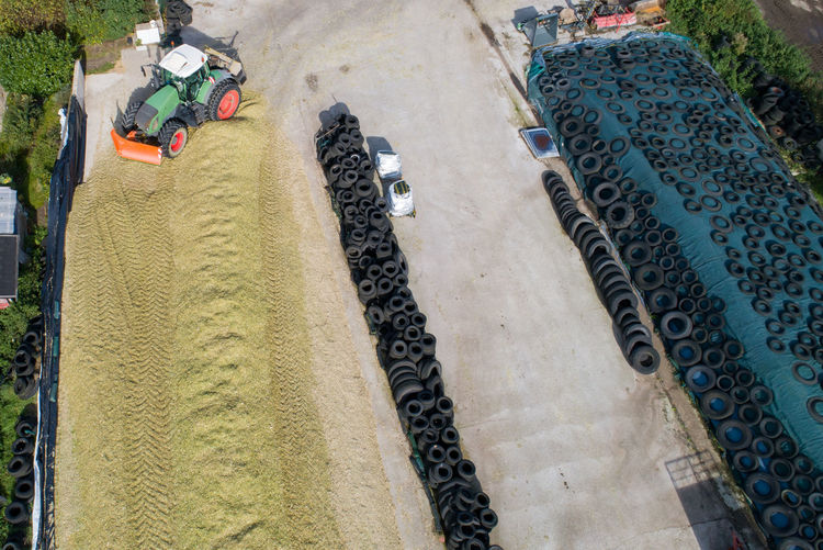 High angle view of worker working on land