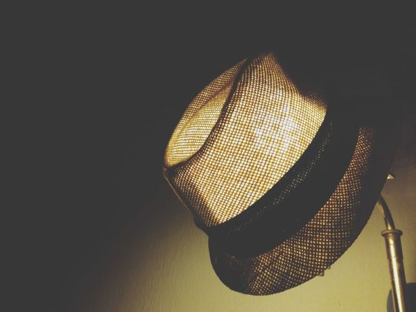 A hat on lamp, Captured with my phone. Huawei Indoors  Lamp Decoration Light Home Home Interior Electric Light Illuminated Hanging Night Technology Gentlemanstyle Pattern Do It Yourself Lighting Equipment No People Electricity  Yellow Light Bulb Lightbulb EyeEmNewHere
