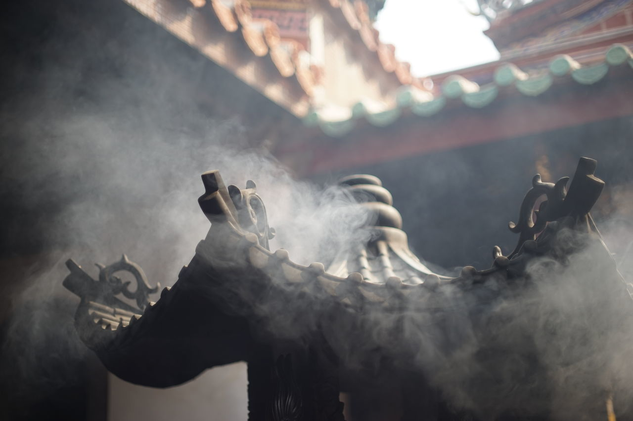 architecture, built structure, smoke - physical structure, religion, low angle view