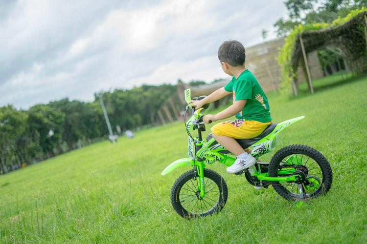A boy riding