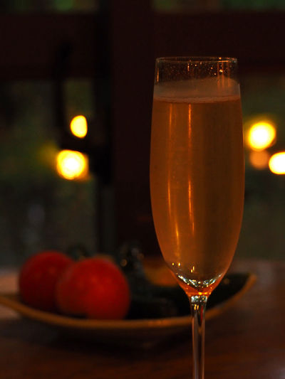 Champagne Champangne Glasses Night Lights Alcohol Bokeh Bokeh Lights Celebration Close-up Cocktail Day Drink Drinking Glass Focus On Foreground Food Food And Drink Freshness Fruit Healthy Eating Illuminated Indoors  No People Table Tomato Wineglass