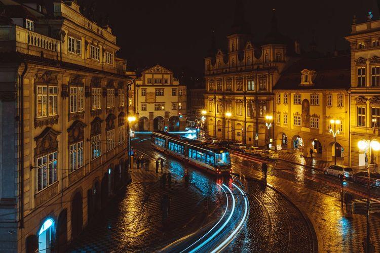 View of illuminated prague city at night