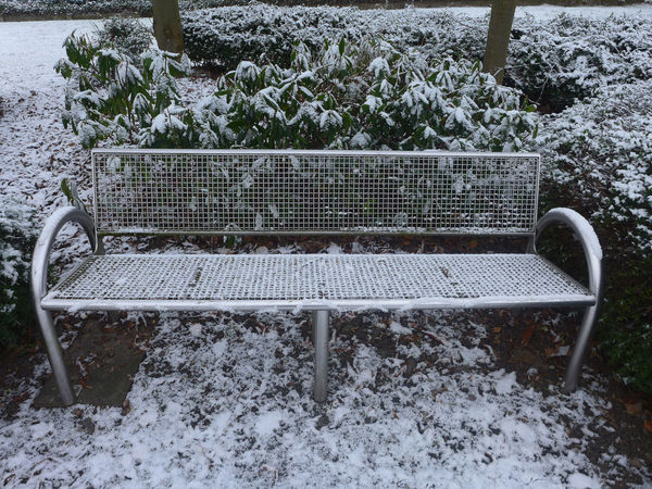 Bench Chair Checked Pattern City Cold Temperature Covered Empty Frosty Hedge Lattice Metallic Objects Park Plant Quiet Scenics Seat Snow White Winter