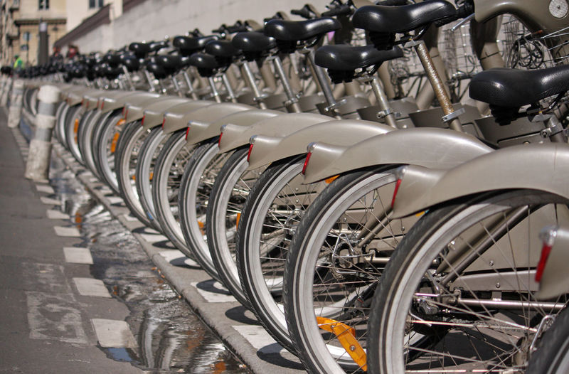Bicycles in parking lot