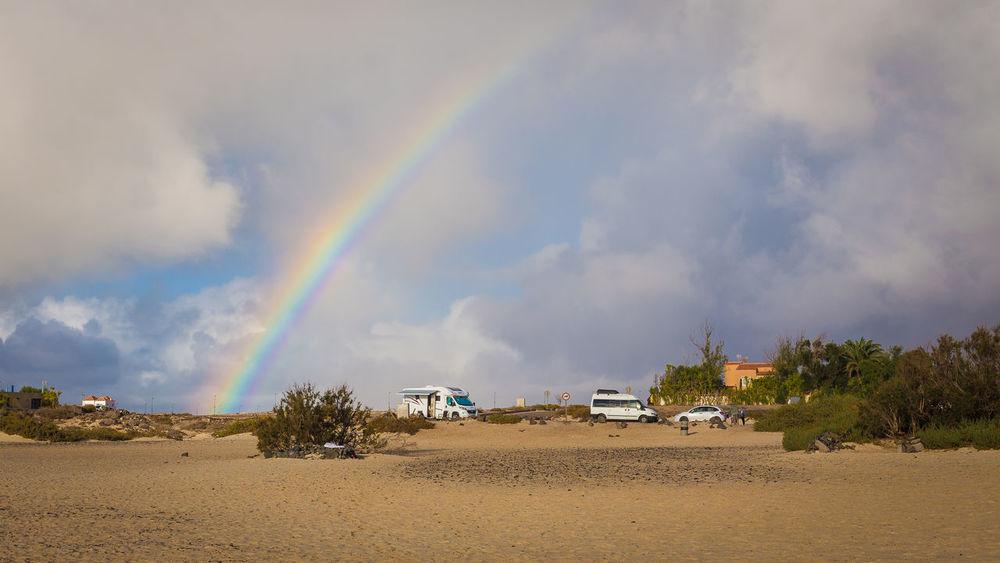 Beach Beauty In Nature Car Mode Of Transportation Nature Outdoors Rainbow Van