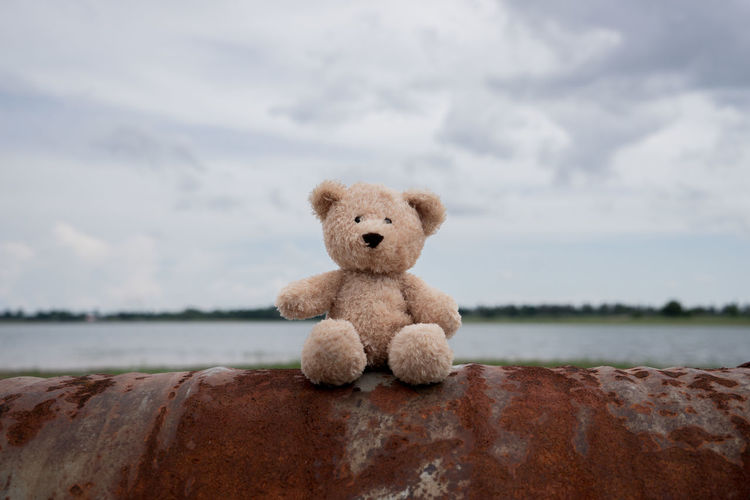 Stuffed Toy On Rusty Metal By Lake Against Cloudy Sky