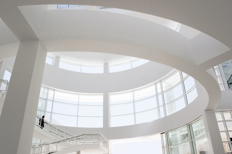 Architectural Column Architectural Feature Architecture Building Built Structure City Day Design Directly Below Getty Getty Museum Low Angle View Modern Museum No People Repetition Skylight Stairs Tourism Travel Destinations