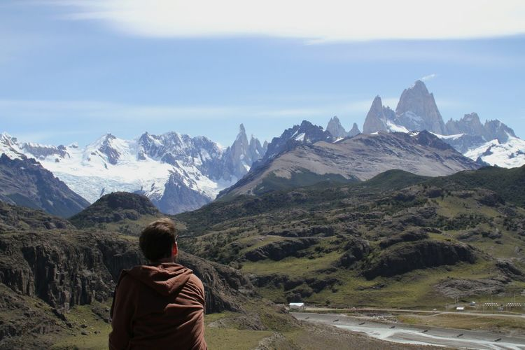 Rear View Of Man On Field Against Fitz Roy