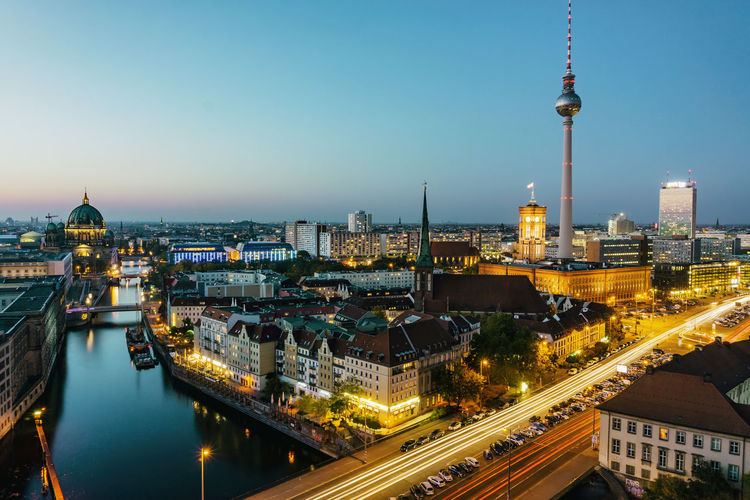 Berlin, Germany, October 14, 2018: Skyline After Sunset with Tv Tower and Spree River Berlin Germany 🇩🇪 Deutschland Horizontal Color Image Outdoors No People Architecture Building Exterior Built Structure Cityscape Building Illuminated Transportation Office Building Exterior Skyscraper Spree River TV Tower Berlin Cathedral Nikolai Church Dusk Sunset Light Trail Clear Sky Skyline Famous Place