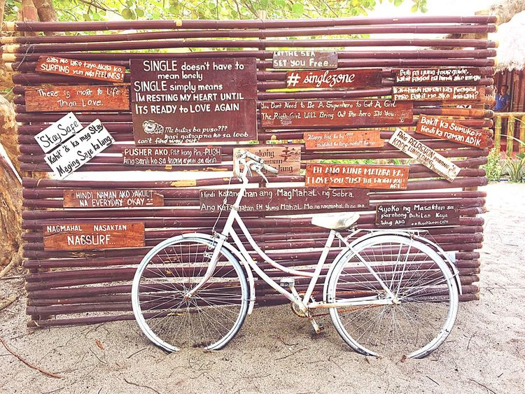 Cutest fall of feelings!❤️ Text Western Script Communication Bicycle Outdoors Day No People Transportation Hugot Freedomwall
